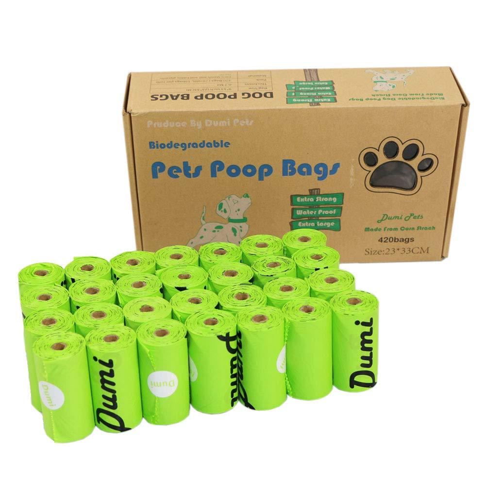 Dumi Pets Bolsas para Caca de Perro, 420 Unidades, Bolsas de residuos para Perros, respetuosas con el Medio Ambiente y biodegradables, a Prueba de Fugas, extragrandes Gruesas y Fuertes