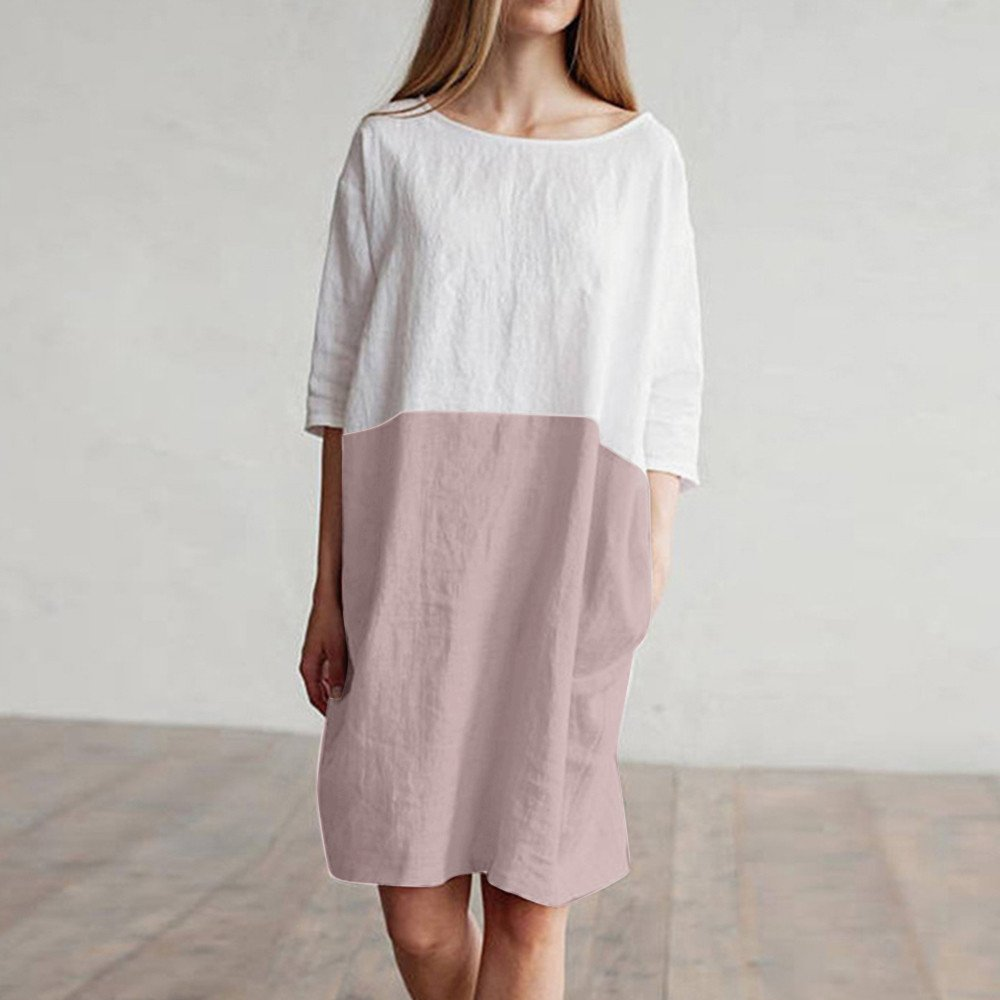 Lloopyting Womens Mosaic Half Sleeve Cotton and Linen Dress Casual Oversized Loose Pocket Long Dress Round Neck Comfortable