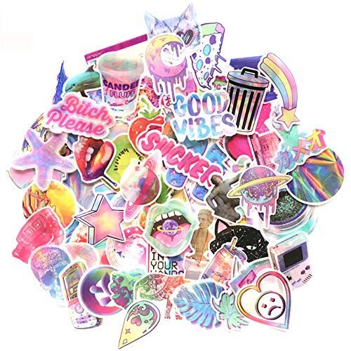 Girl Cute Lovely Pink Lollipop Laptop Stickers Magical Rainbow Unicorn Water Bottle Skateboard Motorcycle Phone Bicycle Luggage Guitar Bike Laser Sticker Decal 70pcs Pack