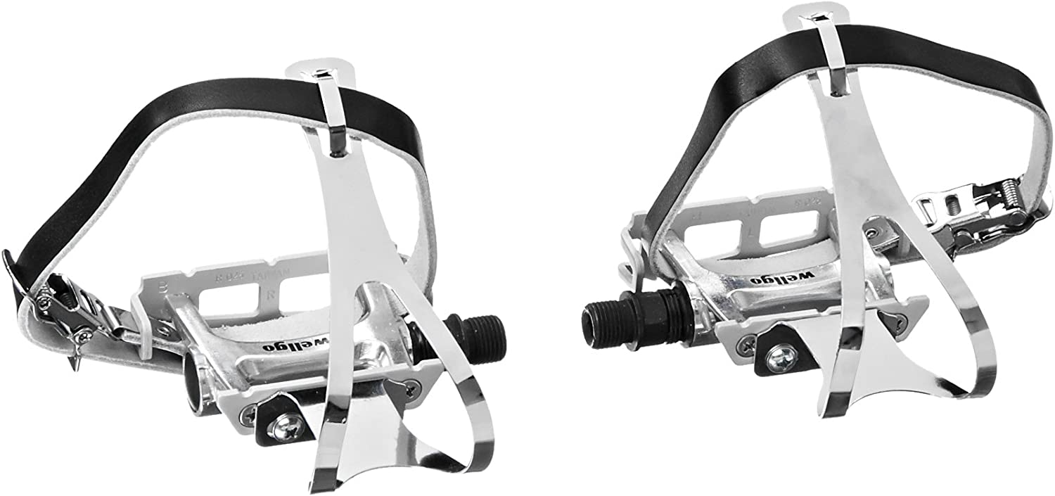 Wellgo R025 Bike Pedal with Toe Clips and Leather Strap Set 3 Colors US SELLER