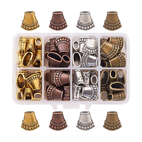 Pandahall Elite 60 Pcs Tibetan Style Alloy Cones Flower Bead Caps Cover for Jewellry Making Mixed Color ()