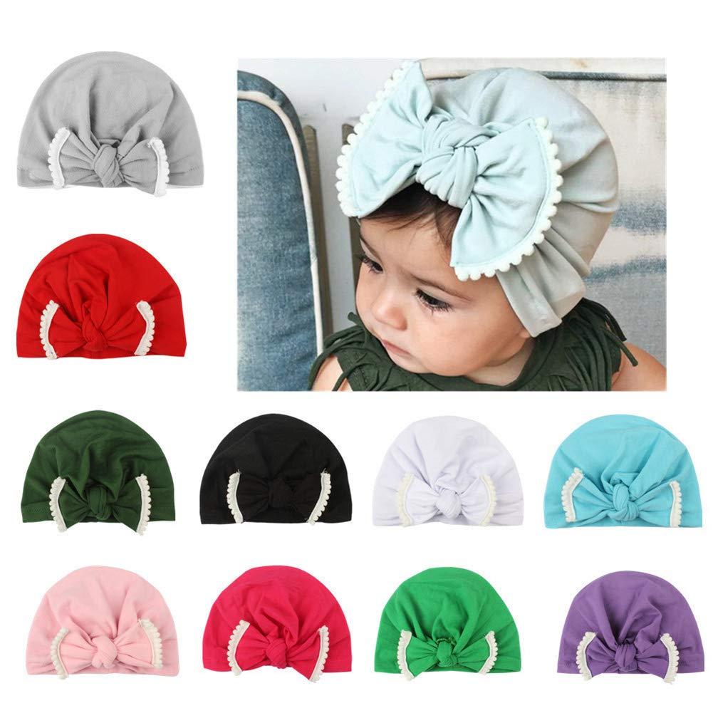 Bingirl Baby Bowknot Turban Newborn Knot Cap Cute Beanie Head Warp Cap Infant Toddler Hats Kids Green