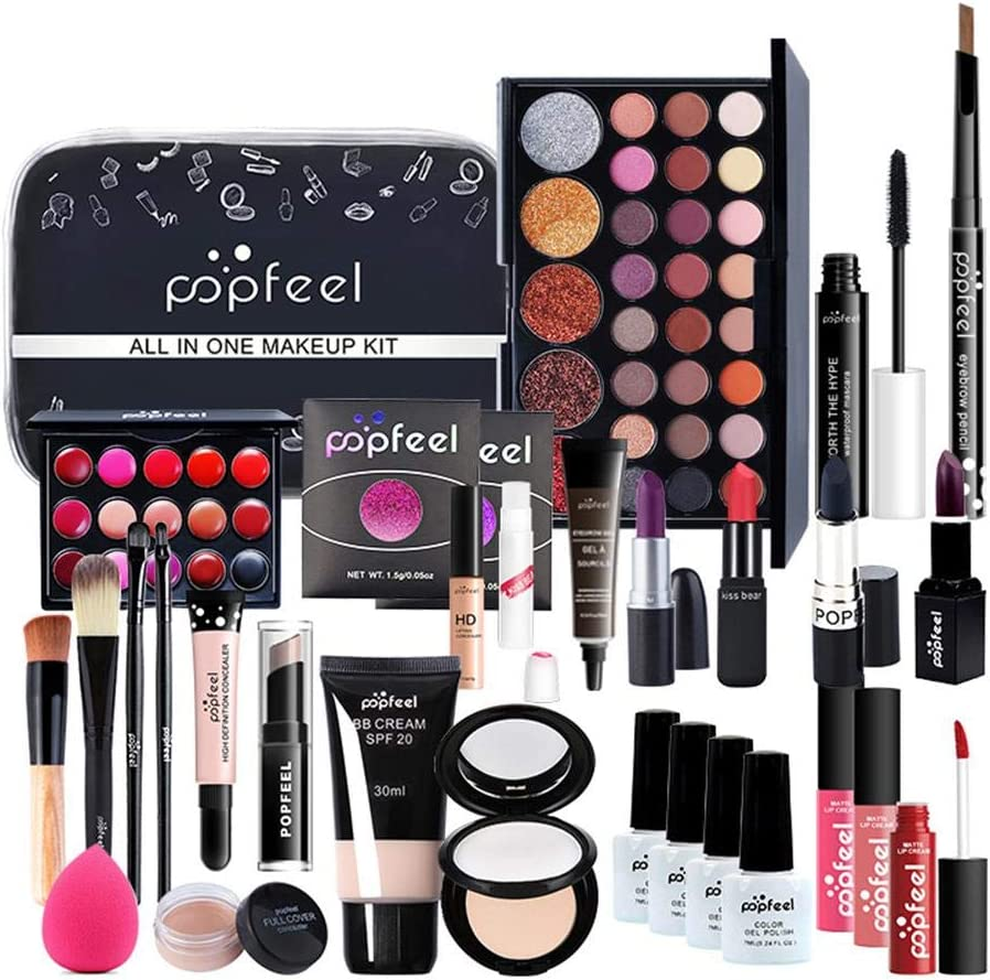 POP-STYLE Professional Carry All Makeup Train Case Makeup Set with Eyeshadows Lipstick Concealer Cosmetics Kit for Makeup Artist Women Girls 30 Pieces Set
