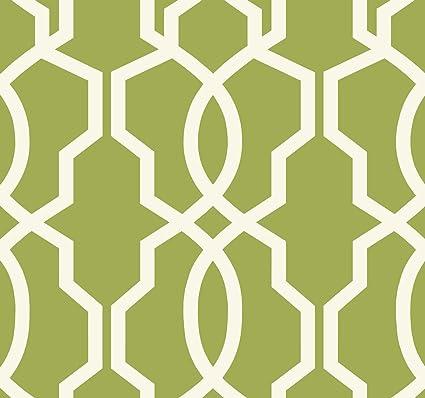 York Wallcoverings GE3666 Ashford Geometrics Hourglass Trellis Wallpaper Yellow Green White