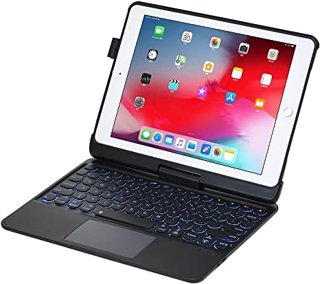 iPad Keyboard Case for iPad 2018 6th Gen - iPad 2017 5th Gen - iPad Pro 97 - iPad Air 2amp1-360 Rotatable - WirelessBT - Backlit 7 Colors - iPad Case with Keyboard for iPad OS 97 Black