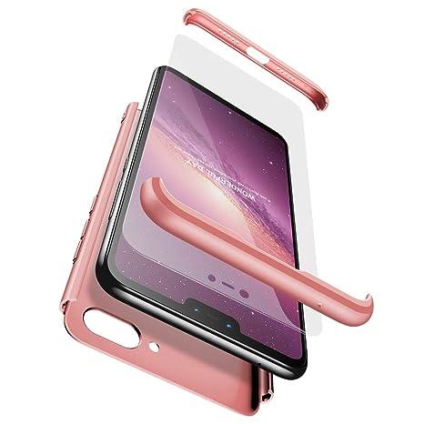 Ququcheng Funda Xiaomi Mi 8 Lite,3 en 1 Desmontable 360 Grados Protective Case+Pantalla de Vidrio Templado Ultra-Delgado Anti-Arañazos Cover Caso ...