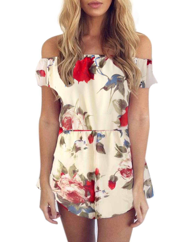 SUNNYME Women's Floral Rompers Off Shoulder Summer Strapless Playsuits Short Jumpsuits Beige 3 S
