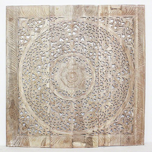 Haussmann Lotus Square Wall Panel, Sand Washed (Wood Panel Decor Carved Wall)