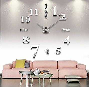 OOFYHOME LUOER Wanduhr DIY Mode Kunstuhr Digitaluhr Stille Nicht Tickende  Uhr Wanduhr 3D Stereo Digitaluhr