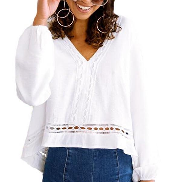 Tayaho Camisetas De Manga Larga Mujeres Otoño T-shirt Casual Cuello V Camiseta Color SÓLido Corto Blusa Moda Universidad Tops De Encaje Personalizadas: ...