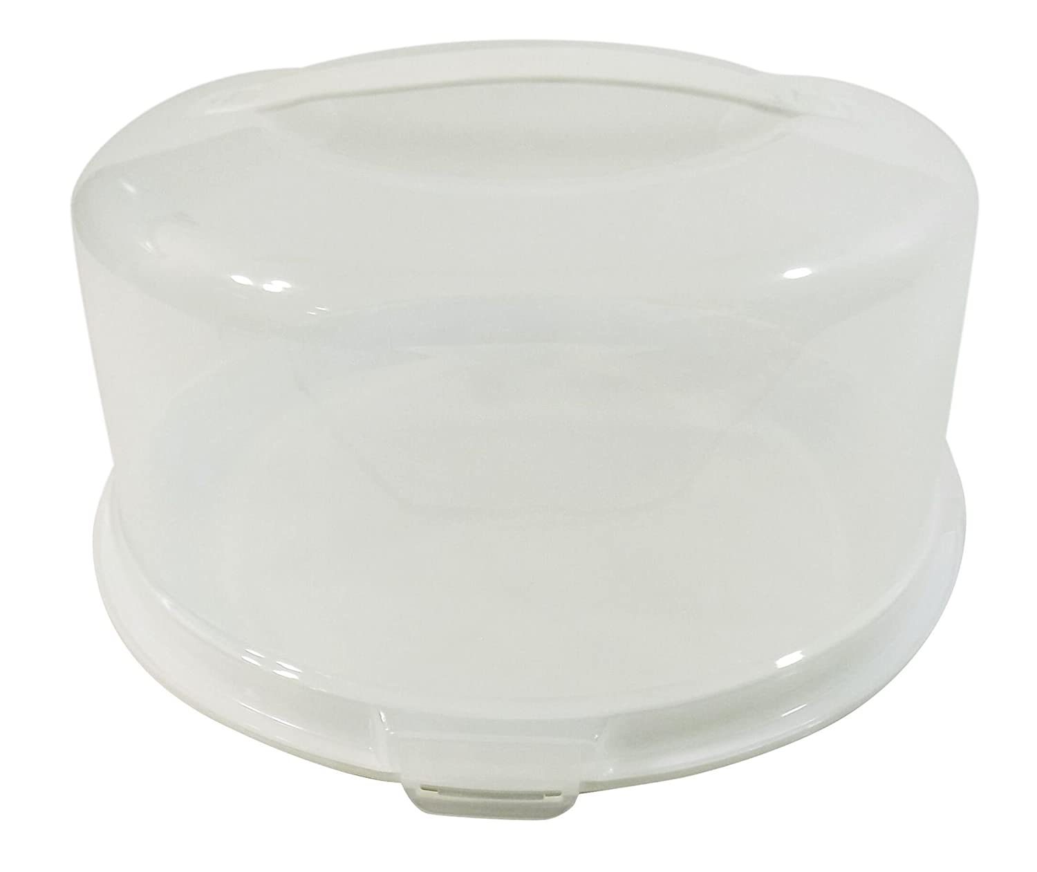 ROUND LARGE CAKE BUNS PIE FOOD STORAGE PLASTIC TUB POT CARRIER BOX 33CM MADE IN UK STORAGE UNIQUE