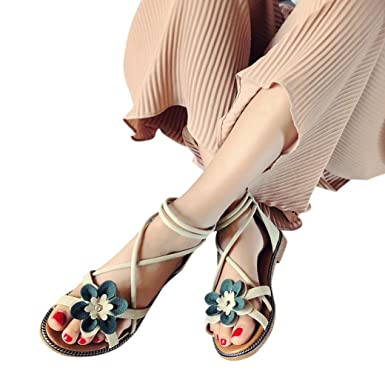 939401afe954a1 Amazon.com  Hot Sale!Women Summer Sandals 2018 Todaies Women Flower Low  Heel Sandals Anti Skidding Sandals Beach Shoes Sandals  Clothing