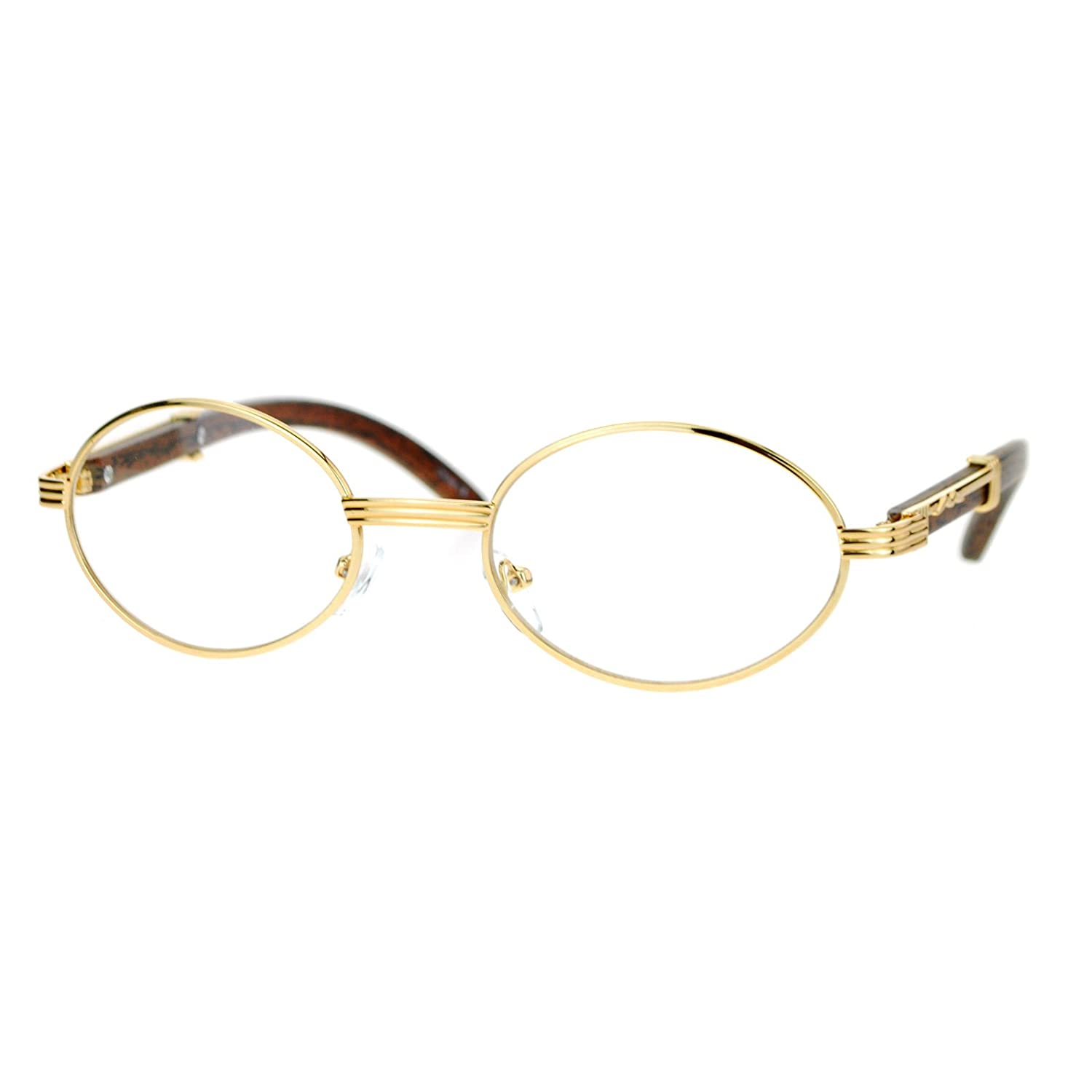 d5ff07315a6e Amazon.com  Clear Lens Eyeglasses Unisex Vintage Fashion Oval Frame Glasses  Yellow Gold  Clothing