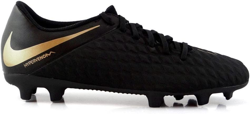 NIKE Phantom 3 Club FG Soccer Cleats (7.5, Black/Gold)