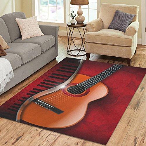 Gogogosky Home Decorate Floor Custom Rectangle Acoustic Brown Guitar And Piano Area Rug Floor Rug Room Carpets 7'x5' (Custom Piano)