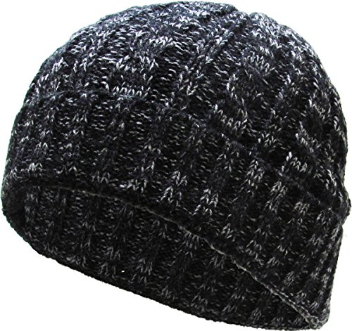 KBW-245 BLK Heather Color Thick Cable Knit Beanie Skull Cap Unisex Winter Hat