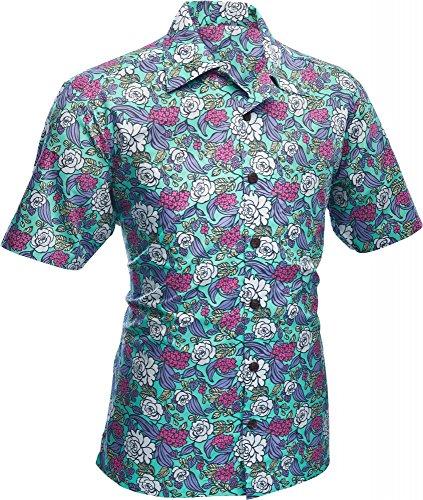 70er Jahre Kurzarm Hemd Surfer Flowers turquoise, Chenaski