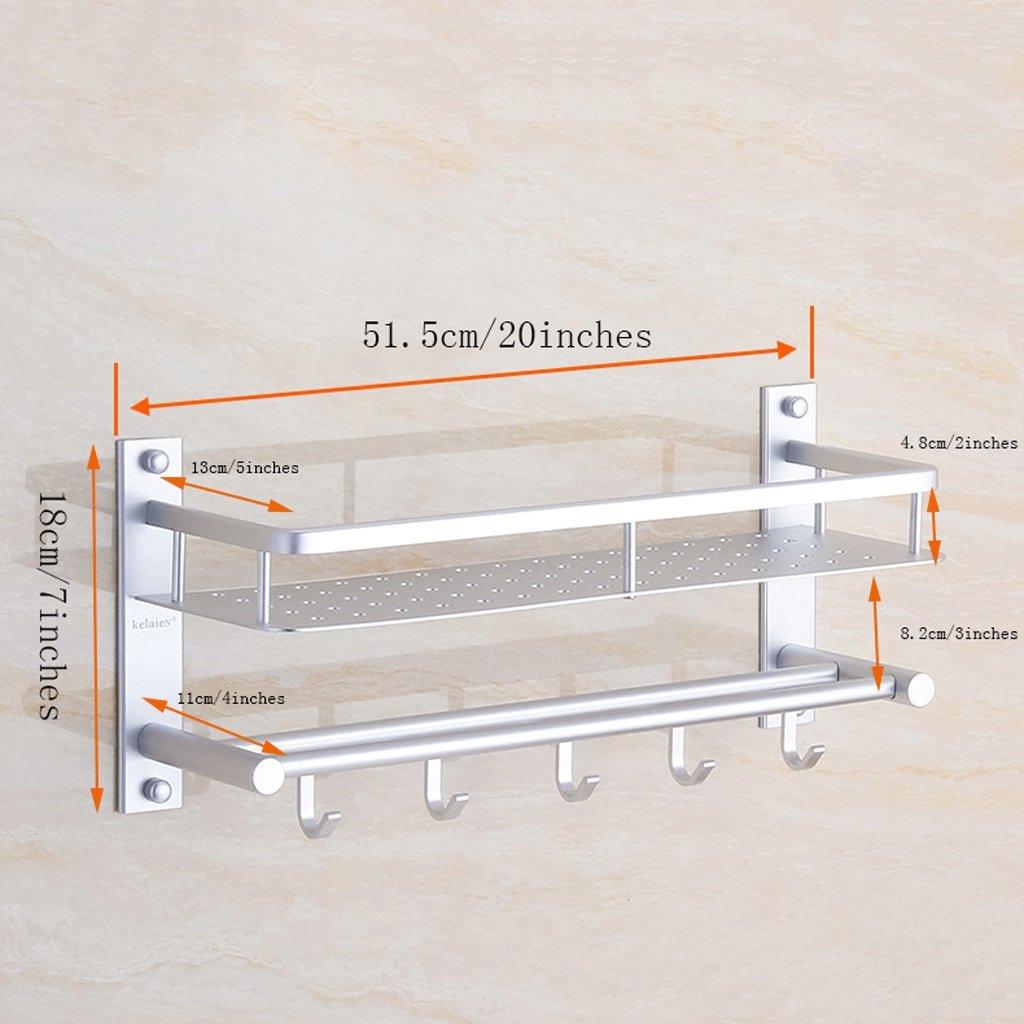 YXN Space Aluminum Bathroom Shelf Bathroom Wall Mounted Metal Pendant Towel Single Pole With Hook Combination Corner Frame Makeup Platform (Size : 51.5cm)