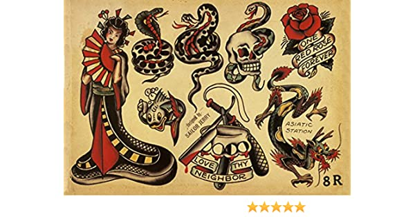 aba889075 Amazon.com: Sailor Jerry Tattoo Art Flash #1 13x19