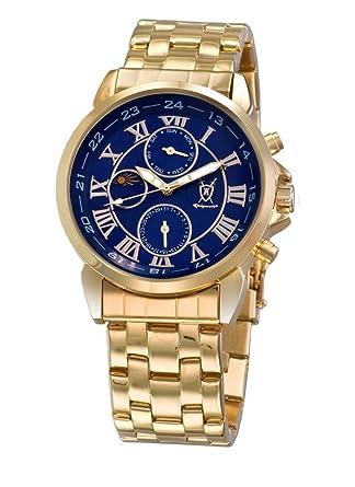 Amazon.com: Konigswerk Mens Gold Tone Bracelet Watch Blue Roman Numeral Dial Day Date Sun Moon Display AQ101091G-1: Watches