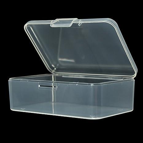 EMVANV Caja de almacenamiento de plástico transparente cuadrada pequeña con tapa para caja de joyería accesorios