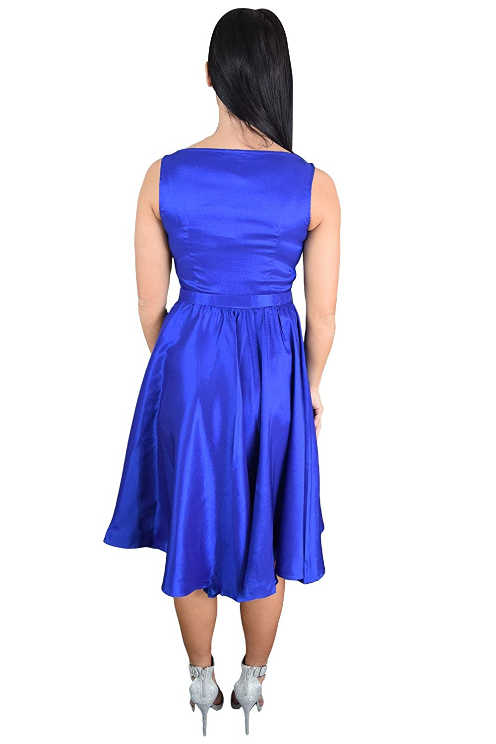Amazon.com: Skelapparel Rockabilly Pinup Deep Blue Satin Cocktail Flare Party Swing Dress: Clothing