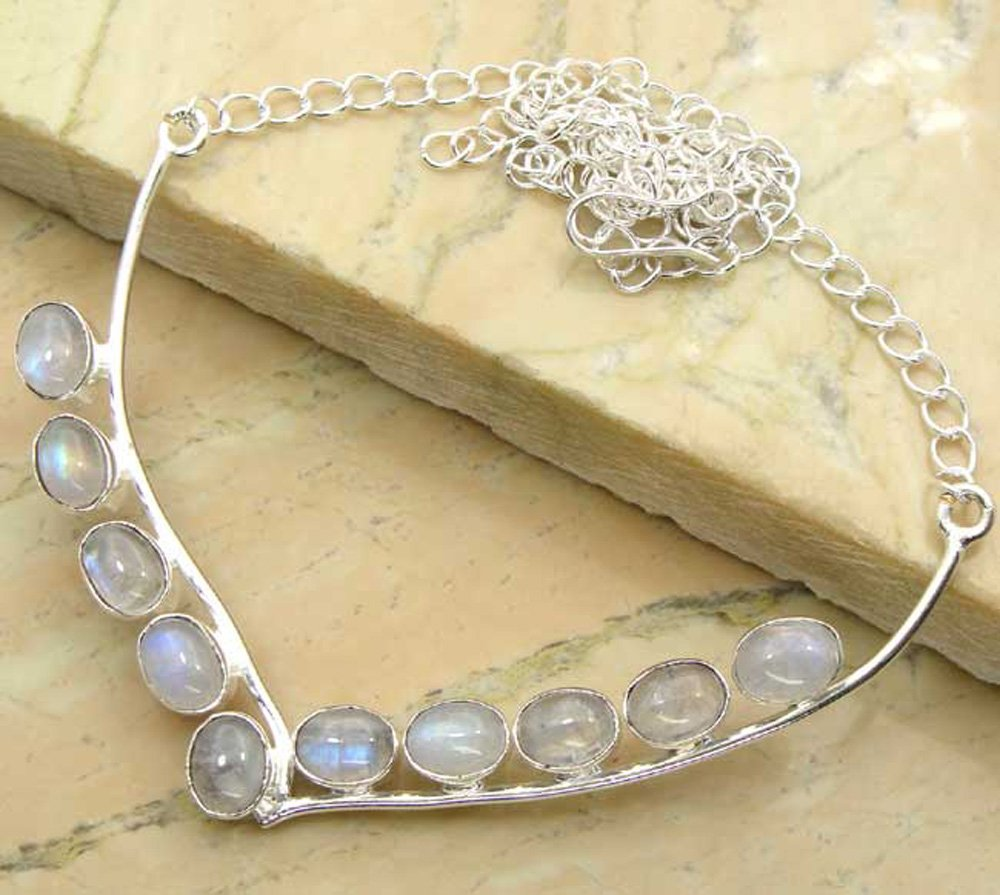 925 Silver Plated 14.00ctw Genuine Rainbow Moonstone Handmade Necklace for Women