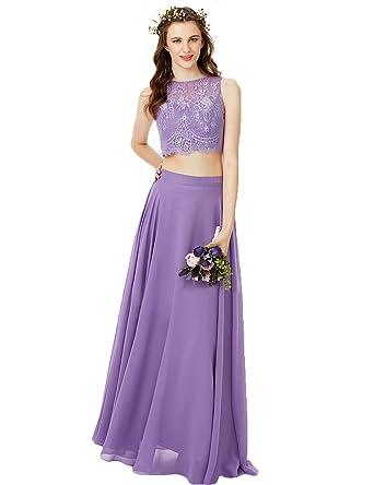 942d26e97b4 YIRENWANSHA Two Piece Prom Dress 2018 Formal Party Gown For Women Empire  Waist Lace Appliqued Chiffon