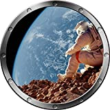 "12"" Porthole Instant Outer Space Ship Window View STRANDED ASTRONAUT #1 SILVER Wall Sticker Kids Decal Room Home Art Décor Graphic SMALL"