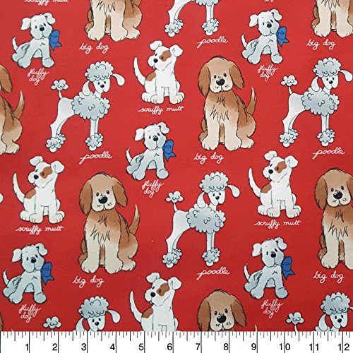 (Flannel Dog Breeds on Red Fabric Sold by the Yard)