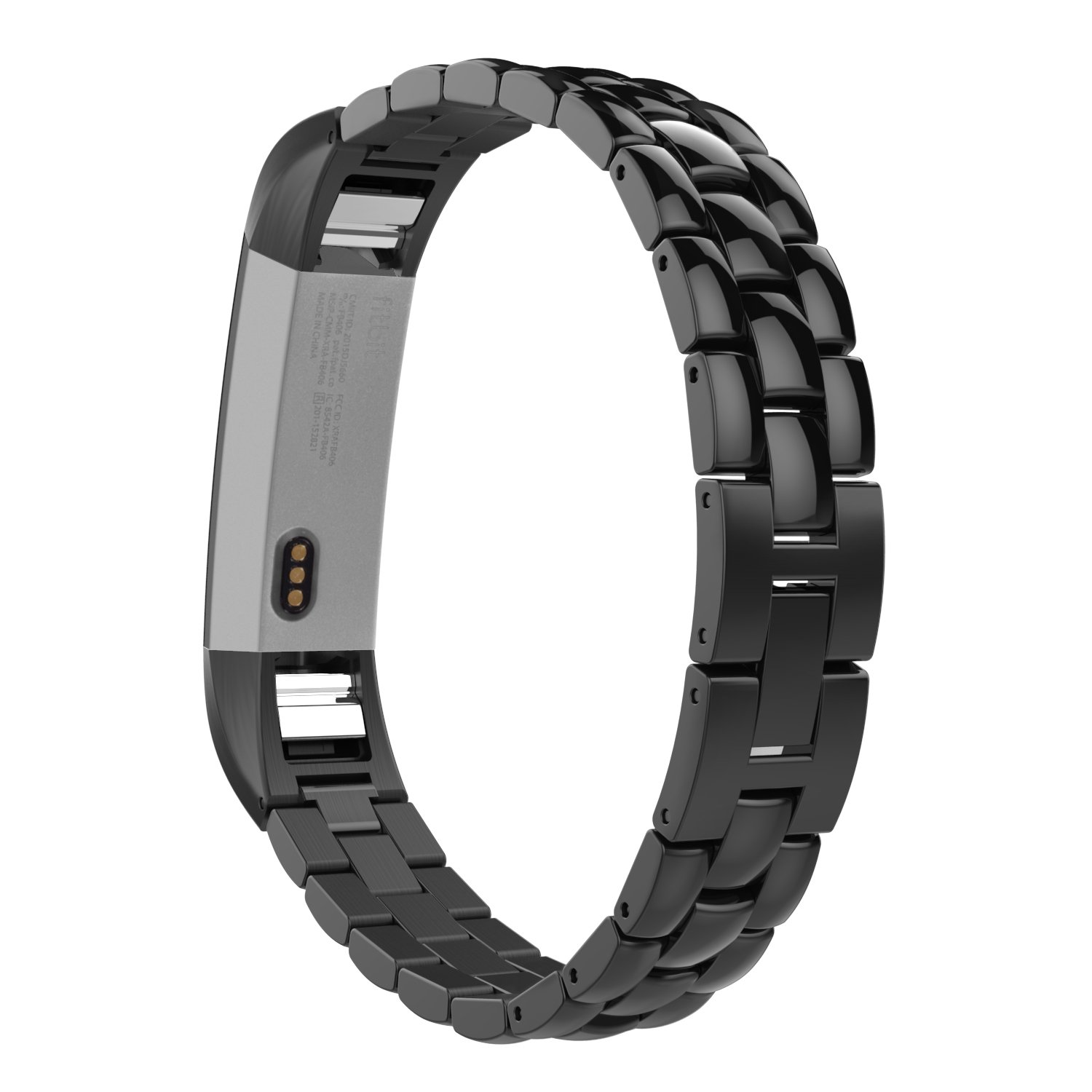 MoKo Fitbit Alta HR and Alta Band, Universal Stainless Steel Replacement Watch Bracelet Band Strap with Fold Over Clasp for Fitbit Alta/Fitbit Alta HR, Tracker NOT Included - Black by MoKo