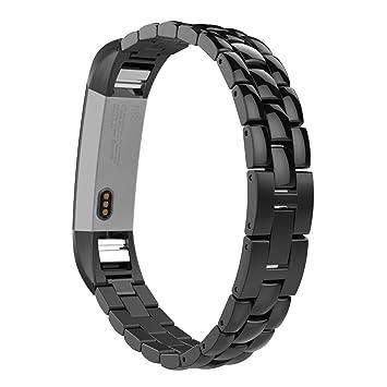 MoKo Compatible con Fitbit Alta/Alta HR Correa - Universal Reemplazo SmartWatch Band de Reloj de Acero Inoxidable/Hebilla Doblable Accesorios - Negro