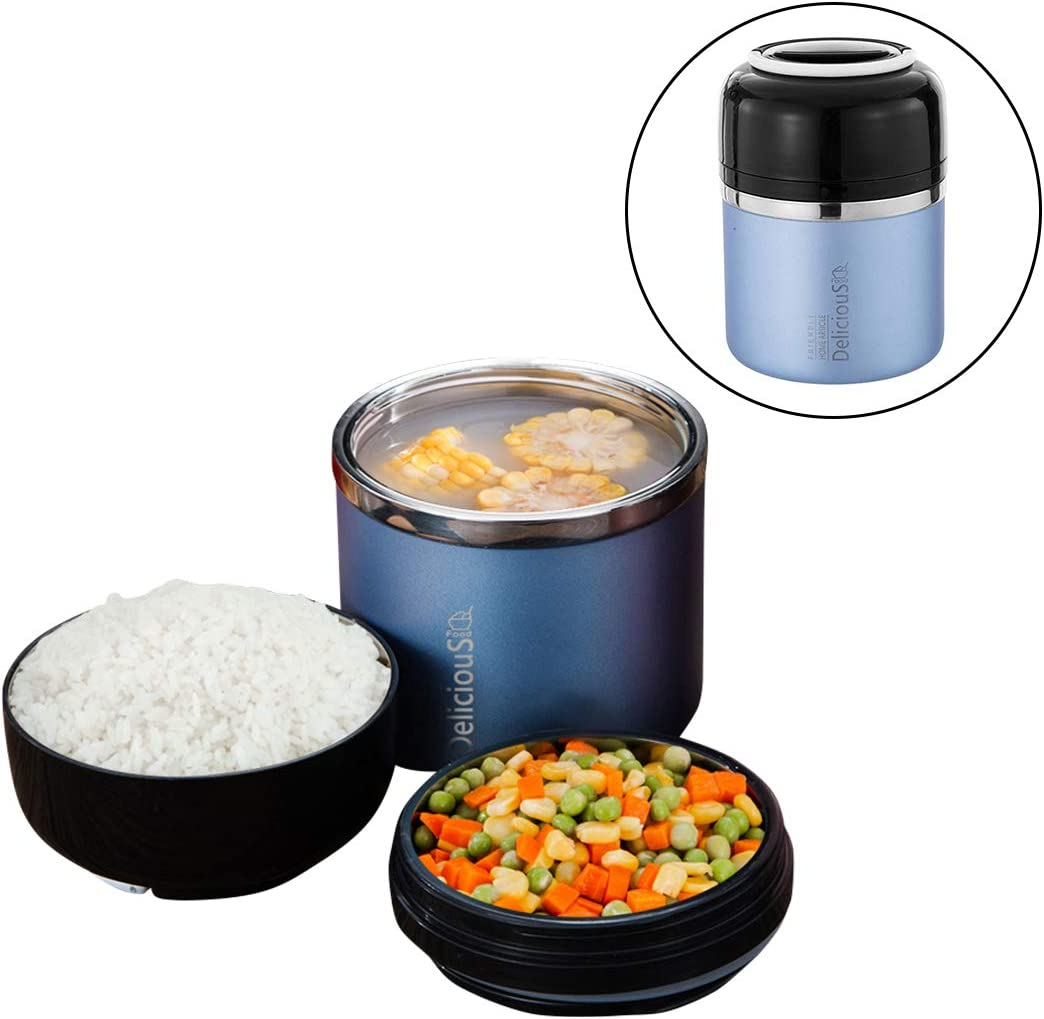 Bento Box for Kids and Adults with 2 Layers Leak-proof Food Containers with Handle Insulated Stainless Steel Lunch Boxes Food Jar Stay Hot 5h (Ocean Blue)