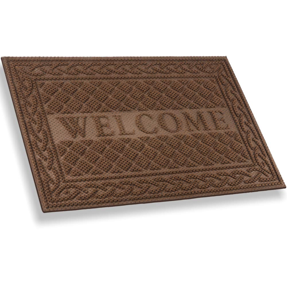Mibao Entrance Door Mat, Winter Durable Large Heavy Duty Front Outdoor Rug, Non-Slip Welcome Doormat for Entry, Patio, 18 x 30 inch, Coffee