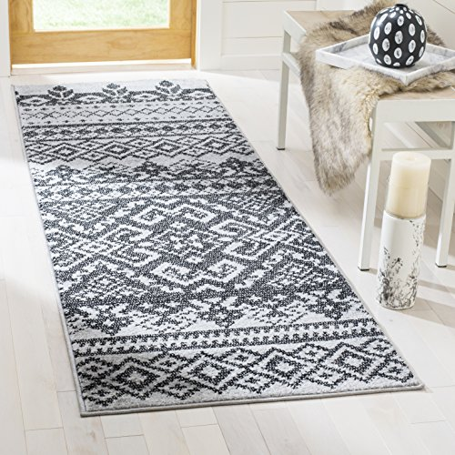Safavieh Adirondack Collection ADR107A Silver and Black Rustic Bohemian Runner (2'6'' x 20') by Safavieh