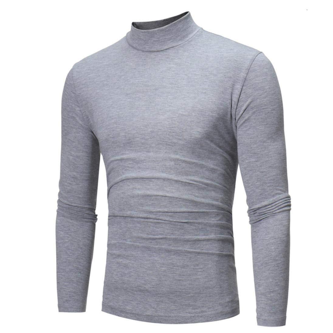 DAYSEVENTH Clearance Men's Autumn Winter Pure Color Turtleneck Long Sleeve T-Shirt Top Blouse 442659