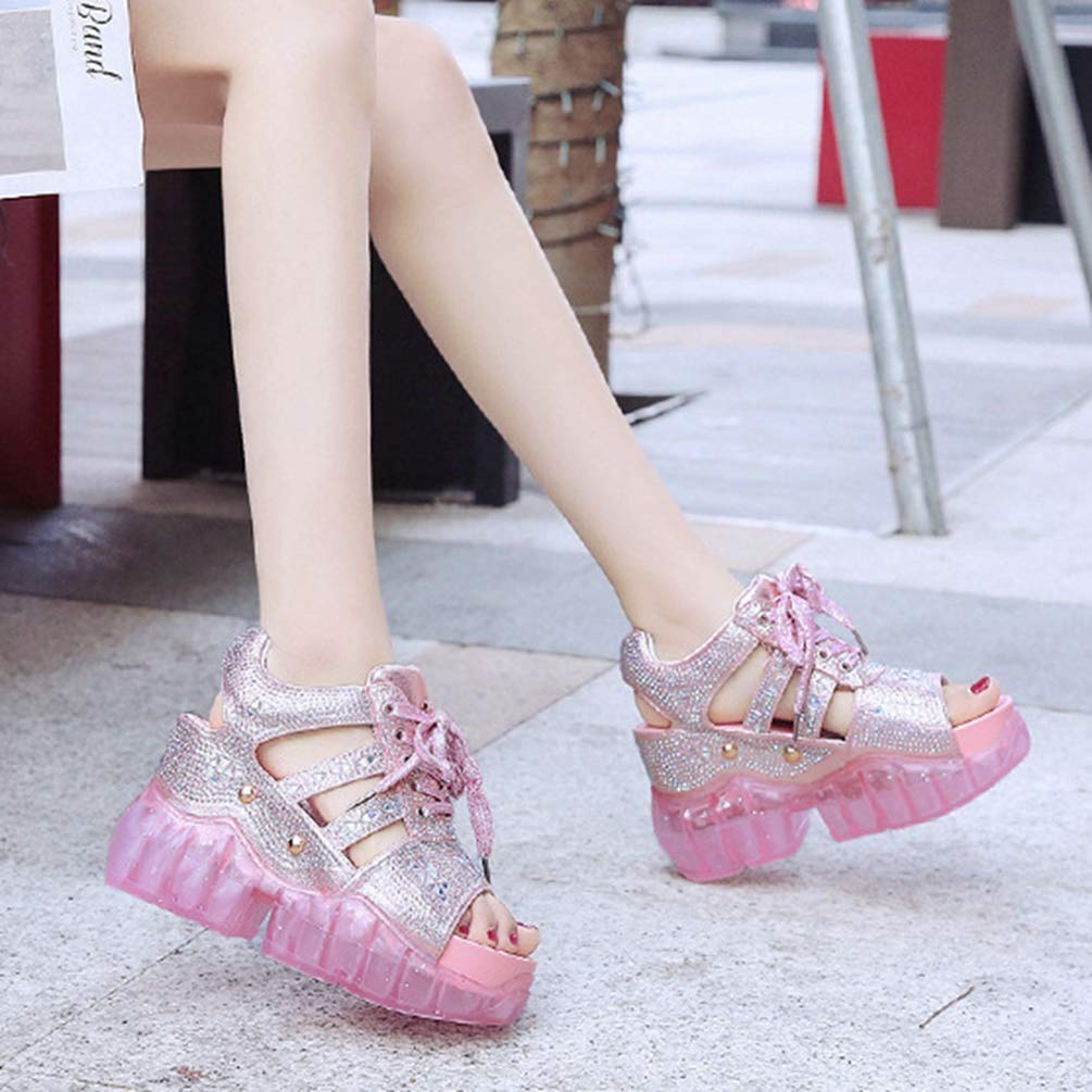 Women Casual Athletic Sandals Non Slip Rhinestone Height Increasing Lace Up Platform Wedges Jelly Shoes