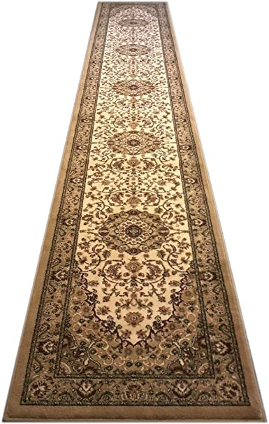 Amazon Com Bellagio Traditional Area Rug Runner 32 In X 15 Ft 10 In Beige 401 Furniture Decor