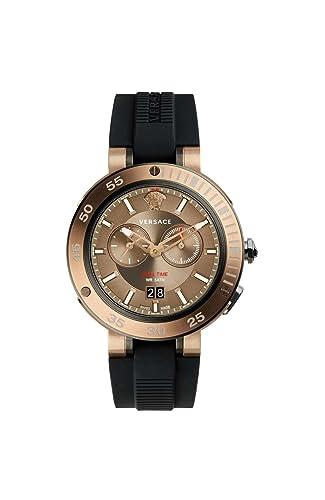 Versace Reloj Cronógrafo para Hombre de Cuarzo con Correa en Caucho VCN030017: Amazon.es: Relojes