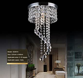 "Crystal Ceiling Light LED 3 Brightness Crystal Chandelier Chandelier Ceiling Light Suitable for Staircase Corridor Living Room Lamp with LED Bulb (D-9.8"")"