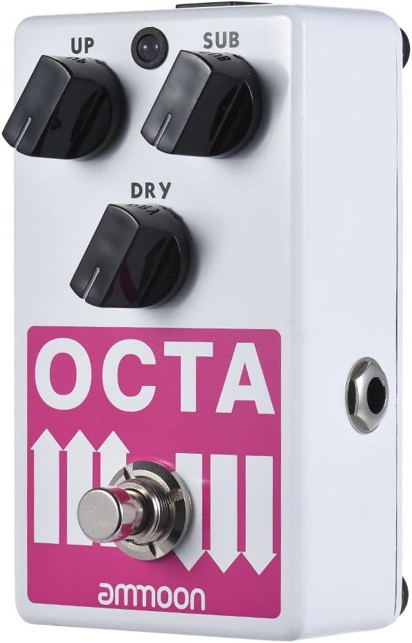ammoon OCTA Pedal de Efectos Guitarra Electrica Polifonico Preciso Generador de Octava Soporta SUB/UP Octava y Señal Seca Carcasa Completa de Metal con True Bypass