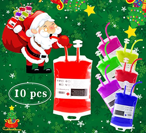 Halloween IV Blood Bag Party Supplies Cup Table Decorations - 10 Pack Juice Energy Drink Container with Syringe for Zombie Vampire Murder Mystery Theme Party Favors, Kid Medical Birthday Funny Novelty ()
