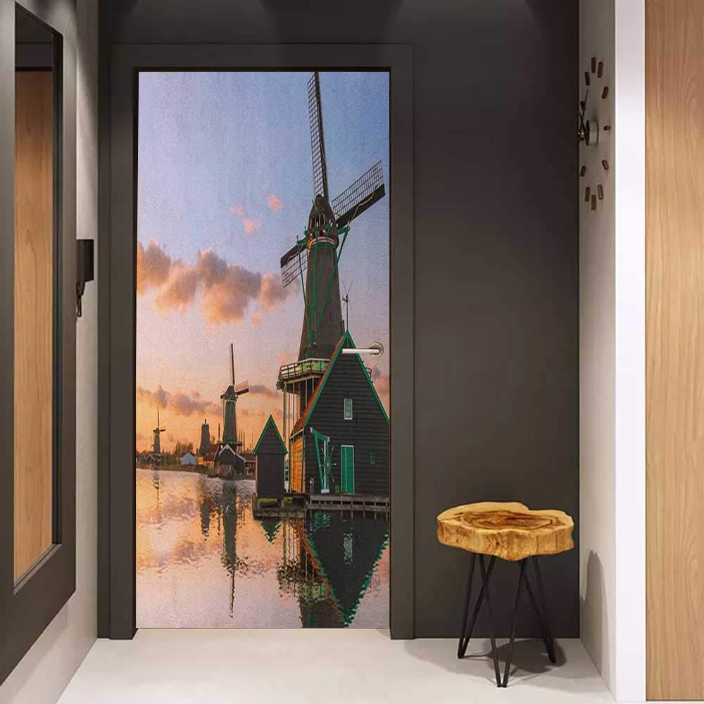 Onefzc Pantry Sticker for Door Windmill Traditional Village with Canal Waterfront Dutch Architecture with Scenic View Sticker Removable Door Decal W30 x H80 Multicolor by Onefzc