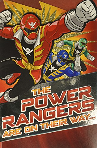 ower Rangers Birthday Card for Boy with Glitter ()