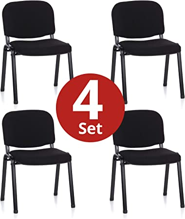 hjh OFFICE 704500 silla de confidente XT 600 lote de 4 tejido negro, apilable, acero estable, 4 sillas: Amazon.es: Hogar