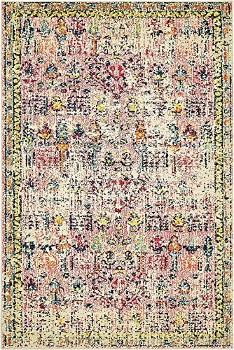 (Vintage Modern and Traditional Rugs -Feet Troezen Collection Area Rug (4' x 6'-Feet, Pink, Beige, Blue, Gold, Navy Blue, Orange, Purple, Red))