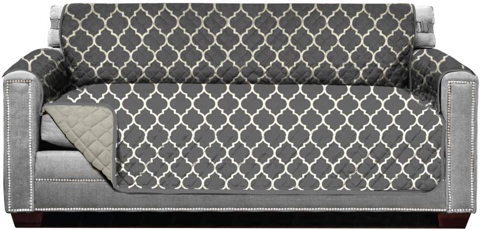 Sofa Shield Original Patent Pending Reversible Large Sofa Protector, Many Colors, Seat Width to 70 Inch, Furniture Slipcover, 2 Inch Strap, Couch Slip Cover Throw for Pets, Quatrefoil Charcoal Linen