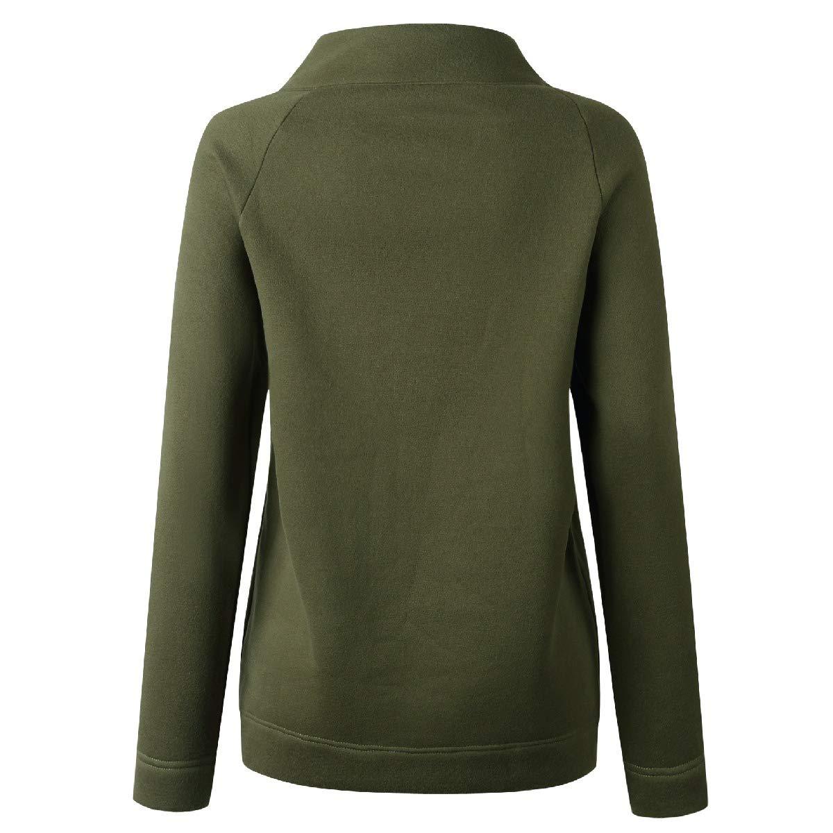 Losait Women Mock Neck Long-Sleeve Button Down Fall Winter Raglan Sweatshirts