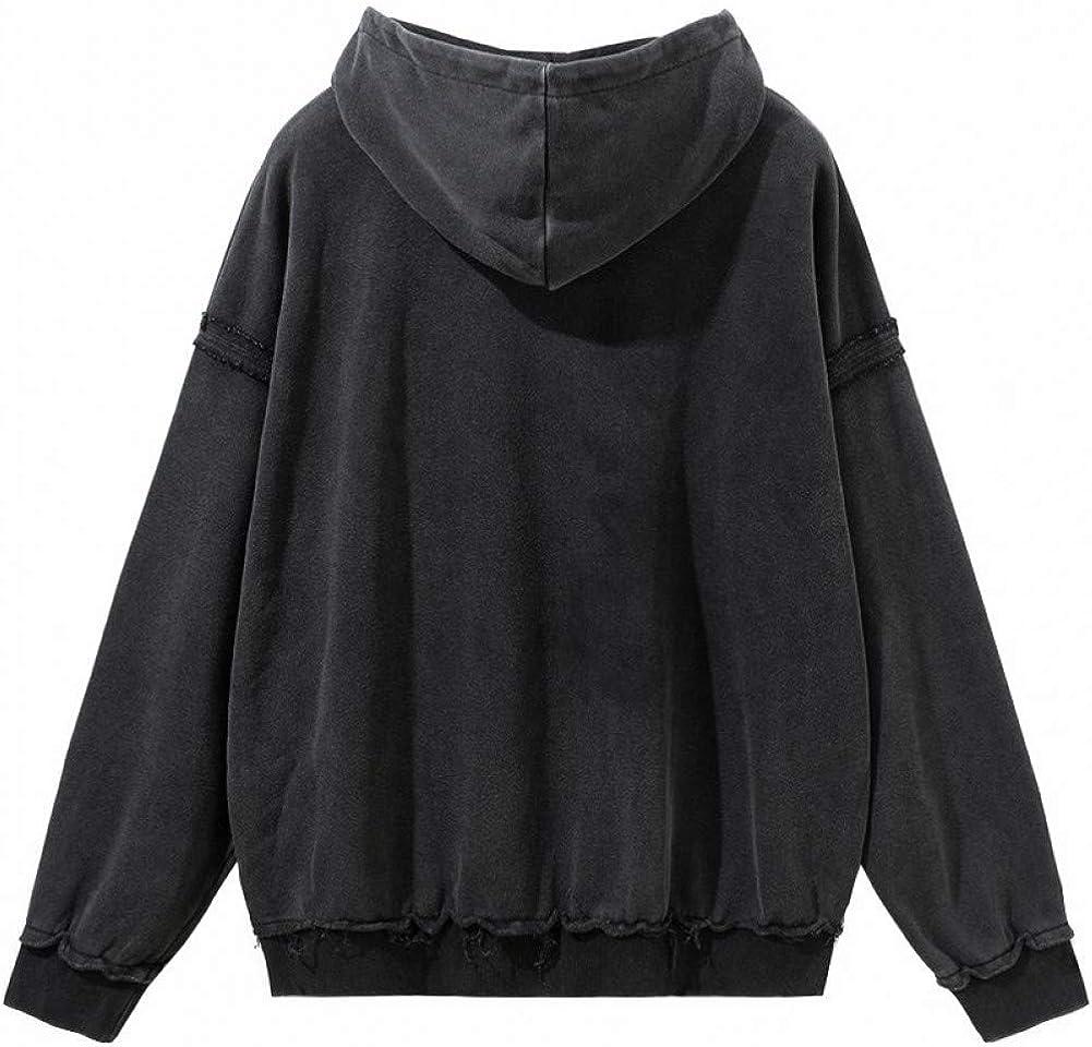 SONGHJ Herren Streetwear Hoodie Sweatshirt Retro Gewaschen Crazy Print Harajuku Hoodie Baumwolle Herbst Pullover Schwarz L