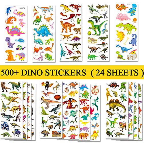 Beestech 500+ Dinosaur Stickers for Kids Boys Girls Toddlers, Teacher Reward Stickers, Potty Chart Training Stickers, Dinosaur Party Favor & Supplies, Dinosaur Favor Bags Hats Goody Gift Bags Boxes -